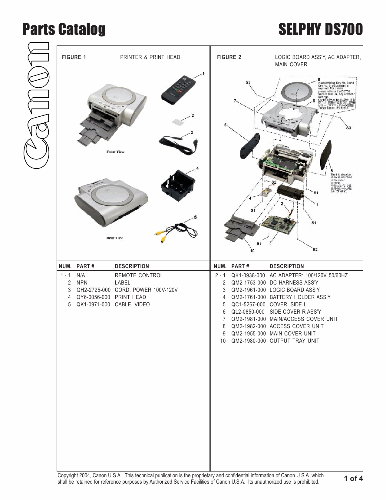 Canon SELPHY DS700 Service and Parts Manual-6